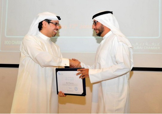 Chairman of Quick Registration Mohammed Khalifa is receiving the CSR Label Certificate from H.E. Hamad Buamim, President and CEO of Dubai Chamber